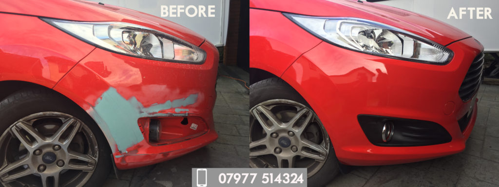 Car bumper scuff before and after repairs