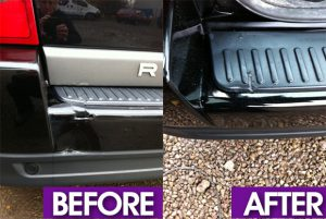 Rear bumper damage before and after photo