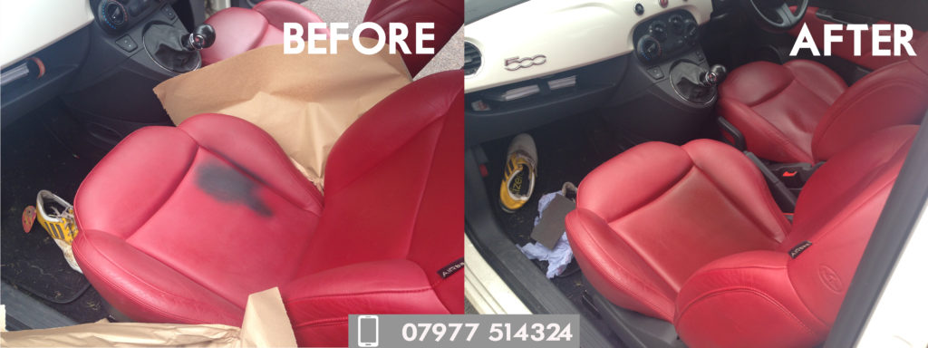 Red Leather Car Seat Restoration and Recolour