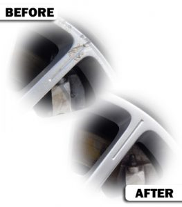 Alloy wheel repair before and after photo