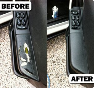 Car door trim damage before and after photo
